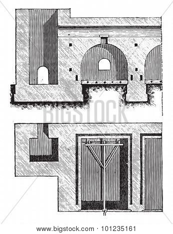 Furnace Gibson, vintage engraved illustration. Industrial encyclopedia E.-O. Lami - 1875.