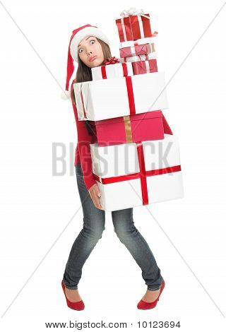 Christmas Woman Tired With Many Gifts