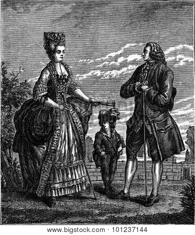 Bourgeoisie after Dupin (eighteenth century), vintage engraved illustration. Industrial encyclopedia E.-O. Lami - 1875.