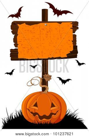 Illustration of Halloween wooden sign and pumpkin