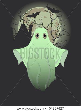 Halloween invitation of cute ghost