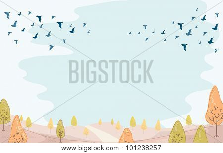 Illustration of a Group of Birds Migrating in Preparation for Winter