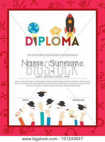 School Kids Diploma Certificate Background