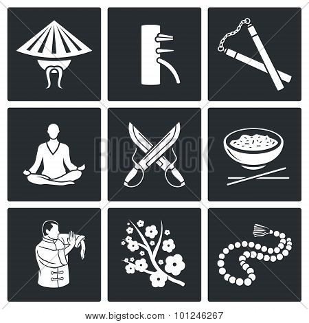 Martial Arts, Wing Chun Vector Icons Set. Vector Isolated Flat Icons collection on a black background