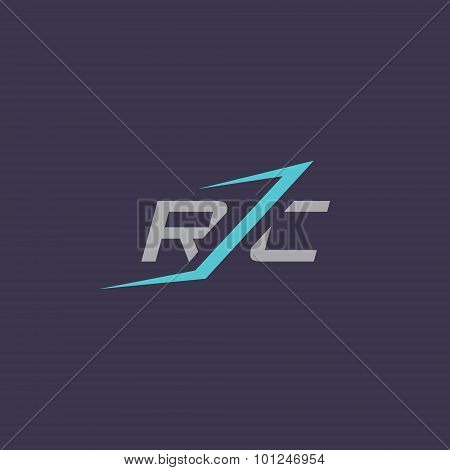 Sign of the letter R and C. Design template Isolated on a dark background