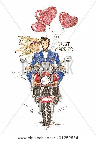 Wedding Couple Riding On A Motorbike.