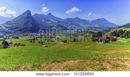 Schwyz and Zurich canton view, Switzerland