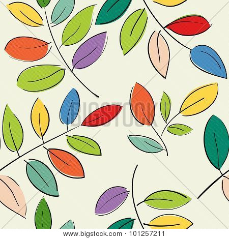 Pattern With Beautiful Branches With Colorful Leaves