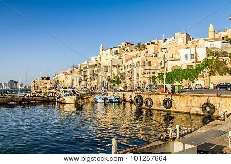 Jaffa Port, view of the old town from Mediterranean Sea