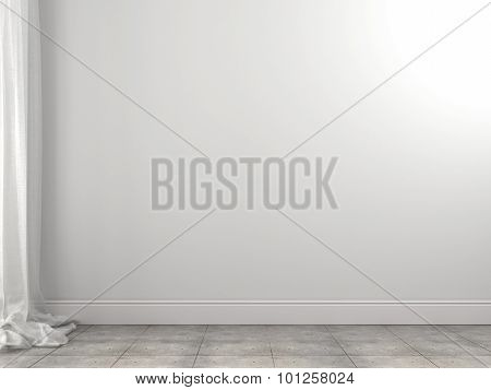 White Background Of The Wall And Curtains