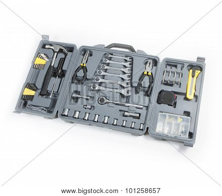 Toolbox Set Of Tools Include Hammer Wrench Bit Driver Pliers Hex Key Bush Level Hex Key.
