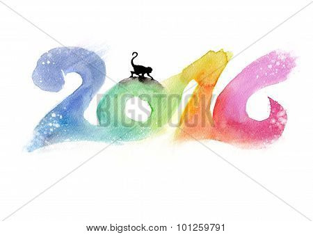 2016 Watercolor Painting. Chinese Horoscope 2016 - Year Of The Monkey