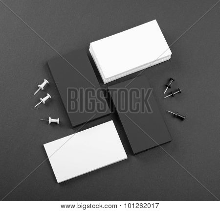 Black And Whote Business Cards On A Black Background