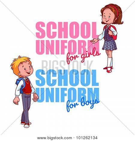 Schoolboy And Schoolgirl Uniform Logo. Vector Illustration On A White Background. Two Very Cute Scho