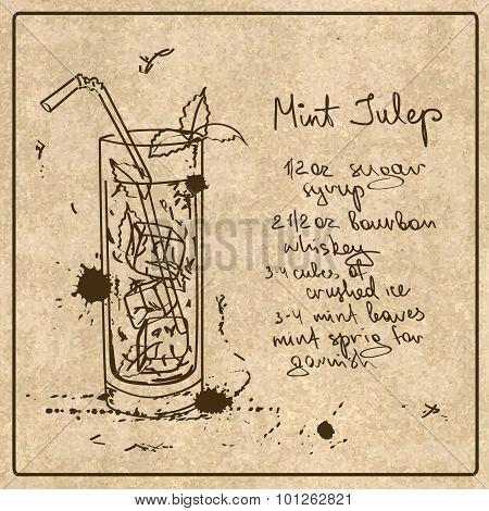 Hand Drawn Mint Julep Cocktail