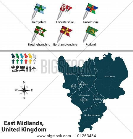 Vector map of East Midlands United Kingdom with regions and flags poster