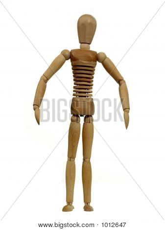 an extremely thin artist's dummy with all its ribs showing - representing either anorexia or malnutrition. poster