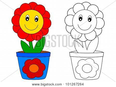 Red Flower In Blue Pot - Coloring Book