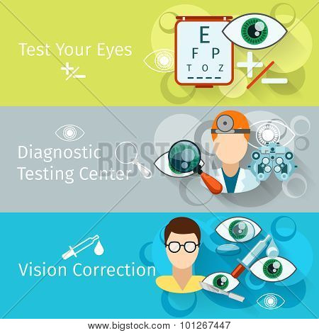 Oculist and optometry horizontal banners