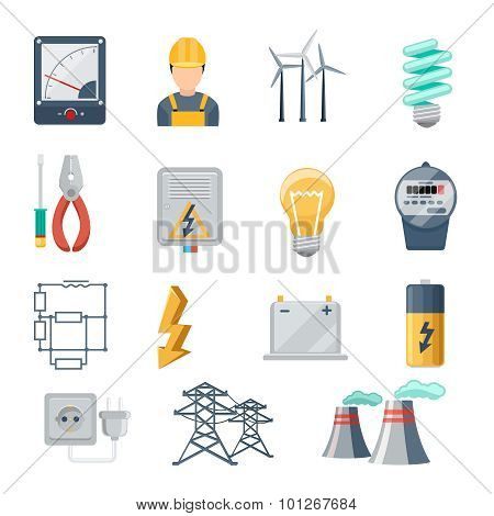 Electricity and power industry icons flat vector set