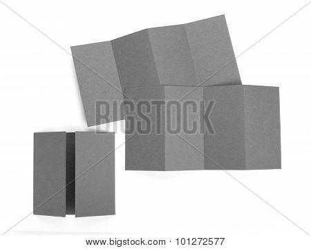 Blank Folded Paper Leaflet Or Flyer Mockup.