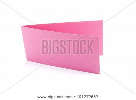 Two Fold Pink Flyers Or Leaflets On White.