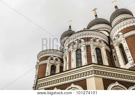 Alexander Nevsky Cathedral, An Orthodox Cathedral Church In The Tallinn Old Town, Estonia. Summer Ti