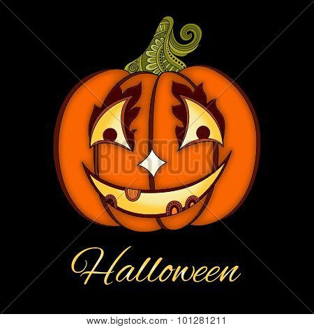 Vector Decorative Colored Pumkin With Smile Isolated On Black Background