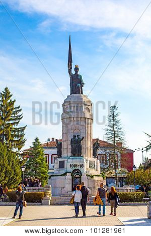 People near Monument of Mother Bulgaria in Veliko Tarnovo