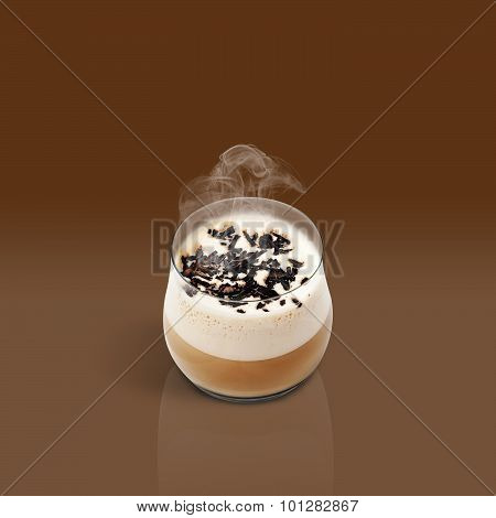 Cup Of Glace Coffee On Brown Background