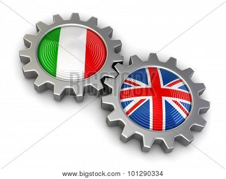 Italian and UK flags on a gears (clipping path included)