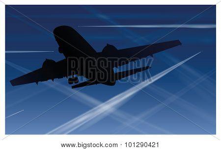 Airplane Contrails Air Pollution Blue Sky