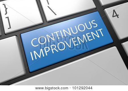 Continuous Improvement - keyboard 3d render illustration with word on blue key poster