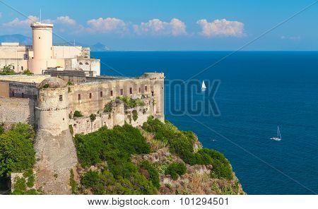 Castle On Mediterranean Sea Coast. Gaeta, Italy