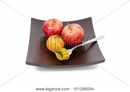The Mandarin And Apples Isolated On White