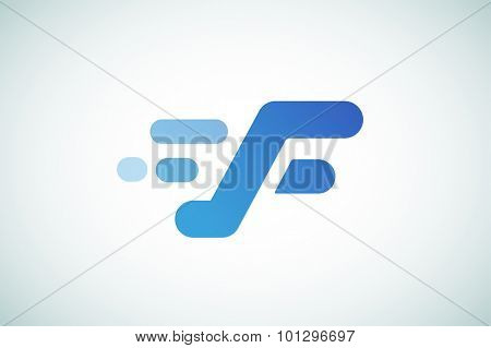 Fast line F letter line logo. F and lines monogram. Vector F line letter. F letter design. Abstract F letter. Motion lines. F line symbol. Thin line style. Transport delivery F motion icon