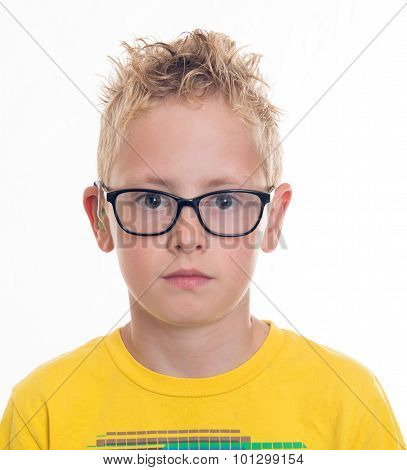 Boy With Hearing Aid And Glasses