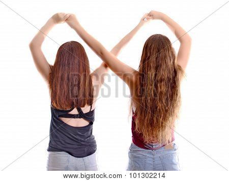 Two Best Friend Girls Making A Forever Sign