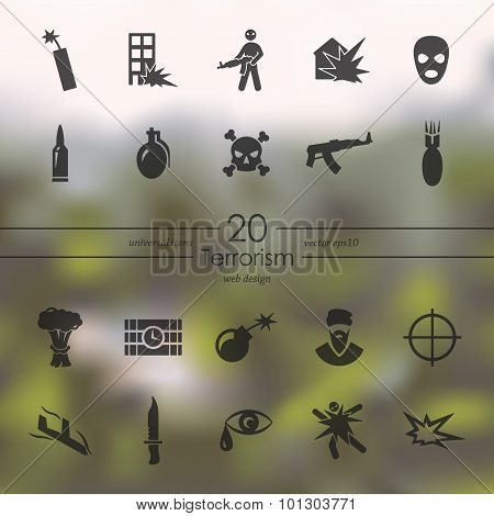 Set of terrorism icons