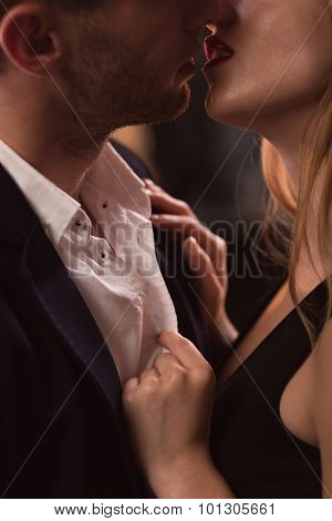 Beautiful Couple Kissing Passionately