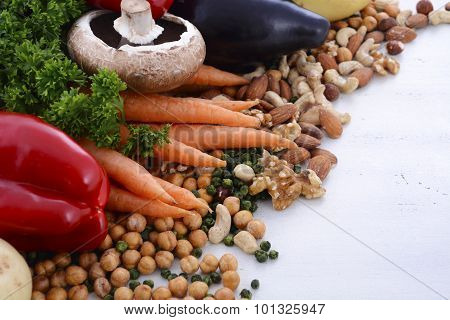 Vegetarian Food Vegetables, Nuts And Legumes.