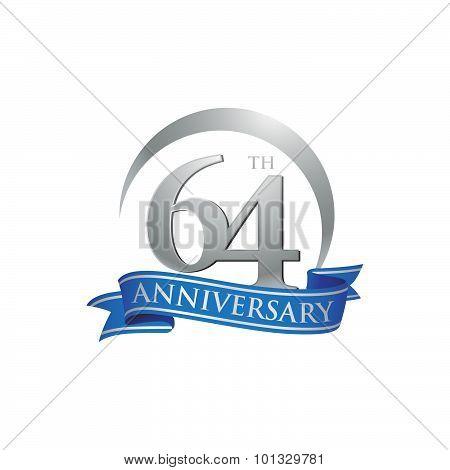 64th anniversary ring logo blue ribbon