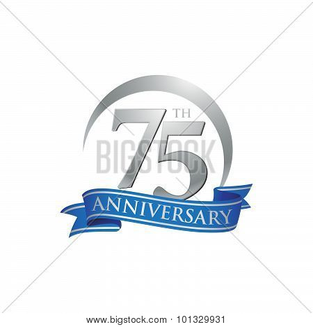 75th anniversary ring logo blue ribbon