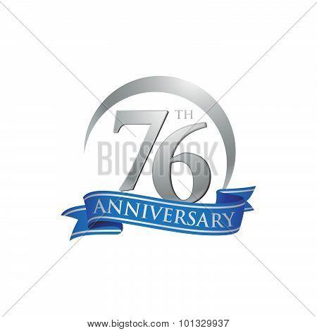 76th anniversary ring logo blue ribbon