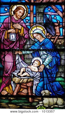 Stained Glass Widow Of Nativity