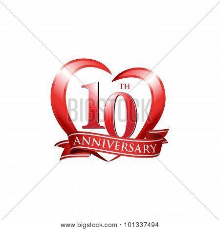 10th anniversary logo red heart ribbon