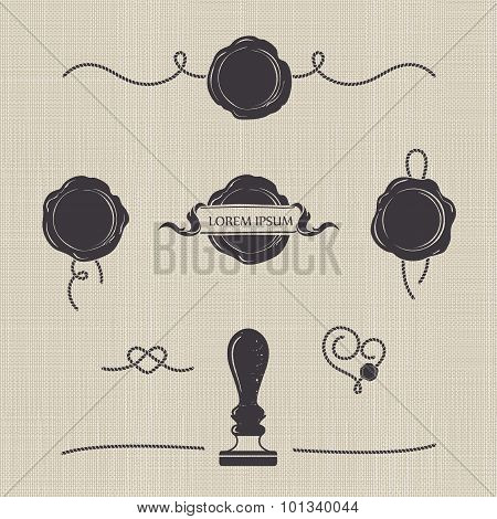 Wax Seal. Silhouette templates for your design. Set of wax seal rubber, stamp.