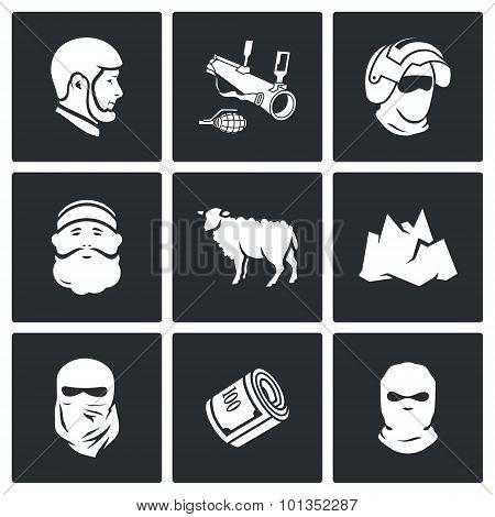 Caucasus Icons. Vector Illustration.