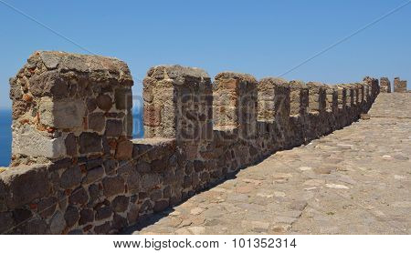 The battlements of Molyvos castle Lesvos