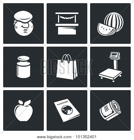 Trading On The Market Icons. Vector Illustration.